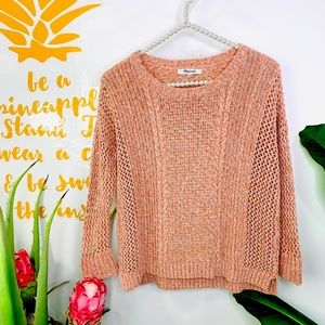 Madewell Peach Tan Knit Quarter Sleeve Sweater XXS